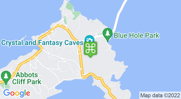 Map showing location of Crystal Caves