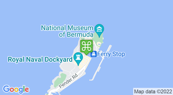 Map showing location of Bermuda Rum Cake Company