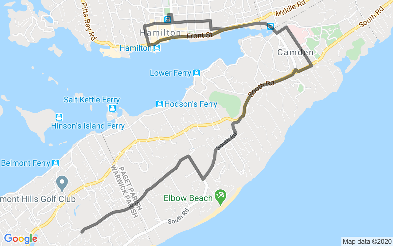 Map showing route of Bus Route 2