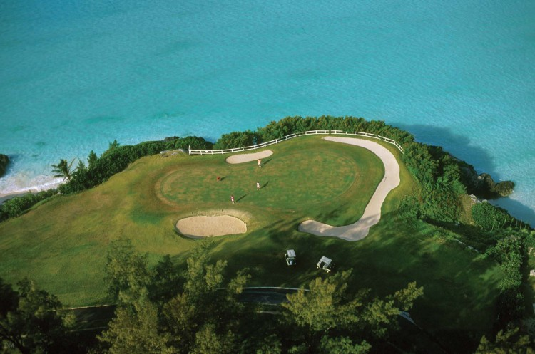 Aerial photograph of the Port Royal Golf Course in Bermuda