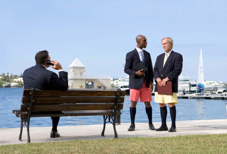Businessmen in Hamilton wearing Bermuda shorts