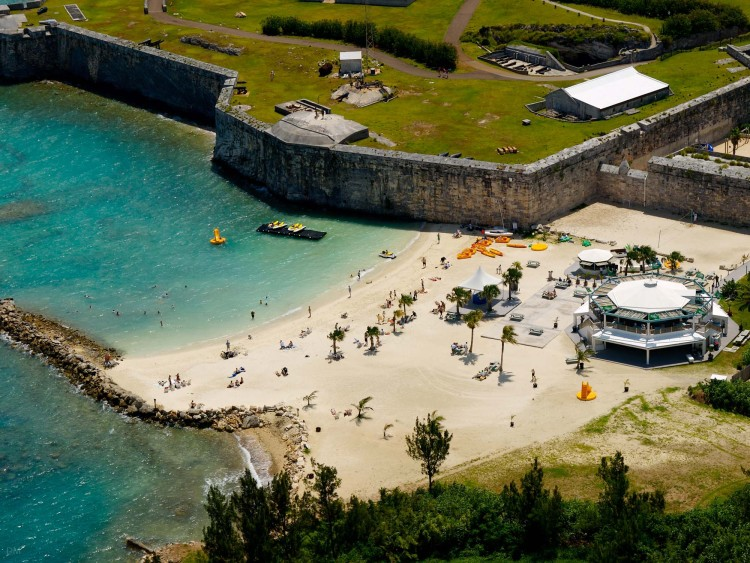 Aerial photograph of the Snorkel Park Beach at Dockyard in Bermuda