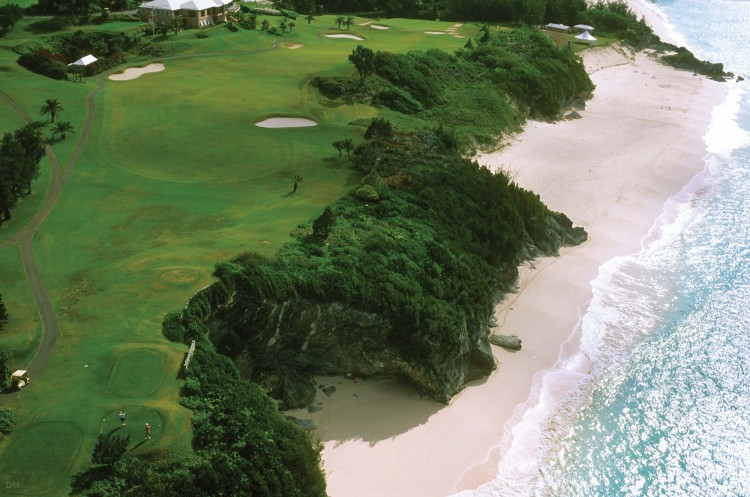 Aerial photograph of Mid Ocean Club golf course in Bermuda