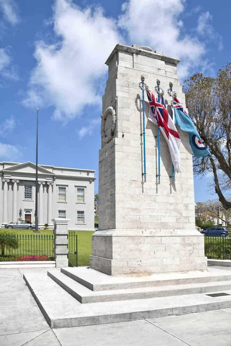 Cenotaph and Cabinet Building, Front Street Hamilton, Bermuda