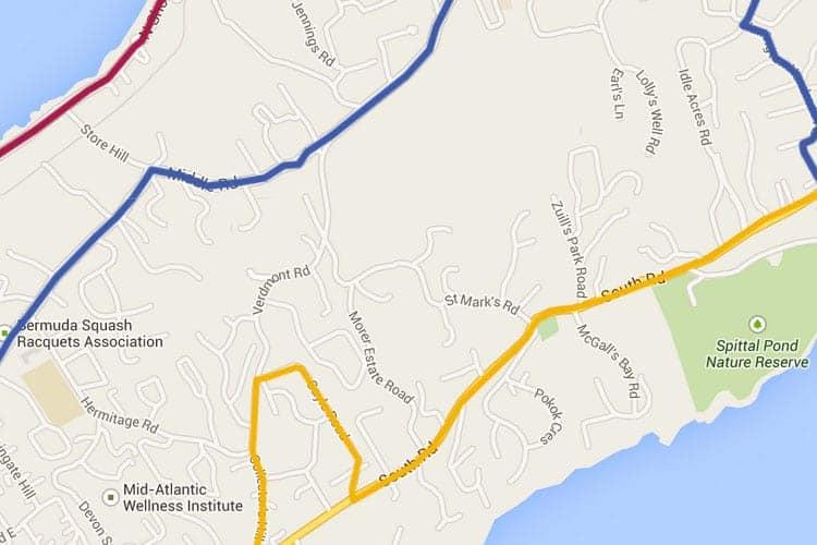 Bermuda tourist map on