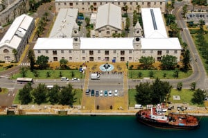 Aerial photograph of the Royal Naval Dockyard in Bermuda showing the Clocktower Mall