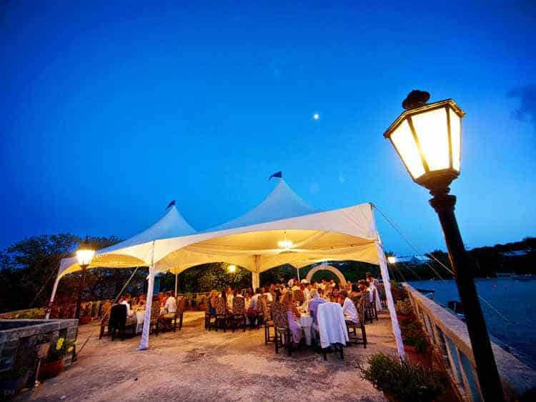 Wedding reception on the outdoor terrace at Tom Moore's Tavern