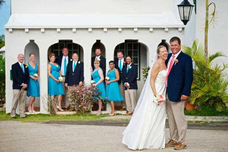 Bride and groom and wedding party at Tom Moore's Tavern