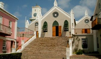 View of the steps and entrance to St Peters Church in St George, Bermuda