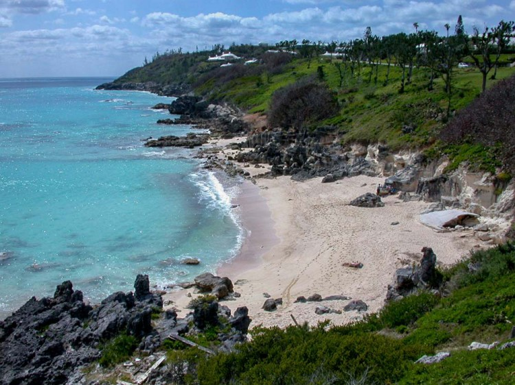 View of the beach at Church Bay, one of the best places for snorkelling in Bermuda