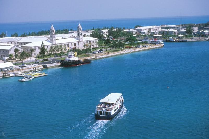 Ferry arriving at Kings Wharf or Royal Naval Dockyard in Bermuda