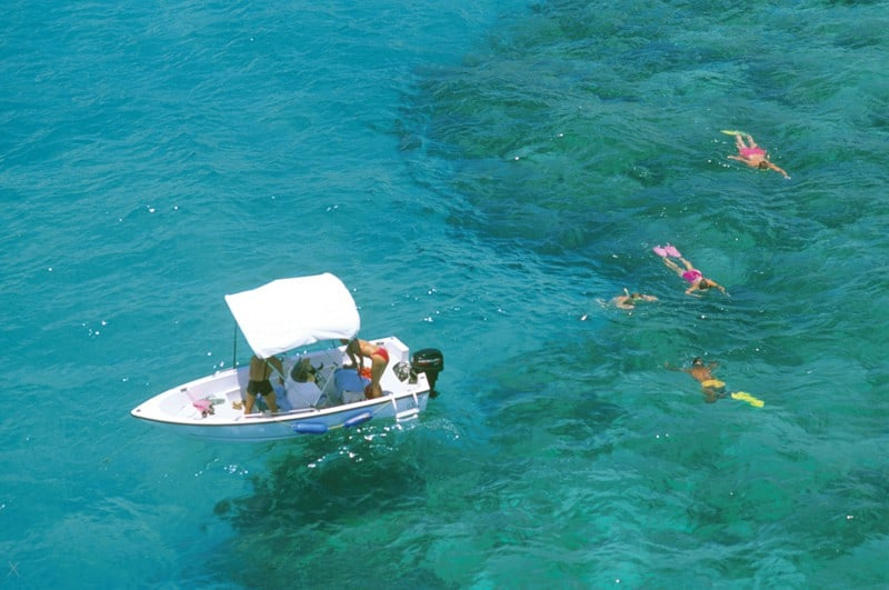 Snorkelling from a boat in Bermuda