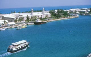 Bermuda ferry approaching Royal Naval Dockyard