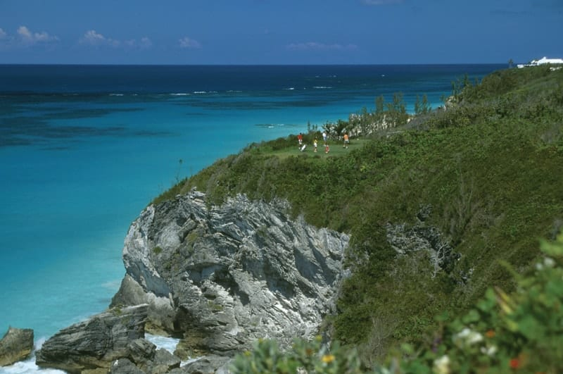 Photograph of golfers playing the Port Royal Golf Course in Bermuda