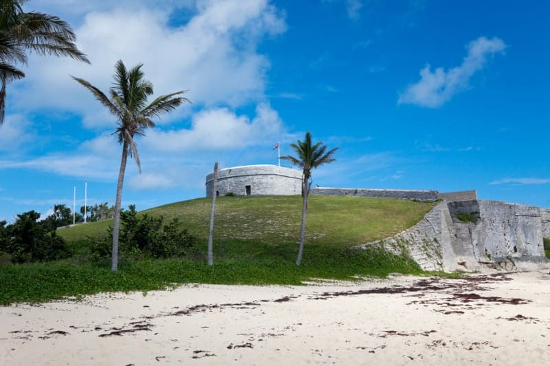 View of Fort St Catherine in St George, Bermuda from the beach