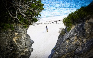 Newly married couple on a beach in Bermuda