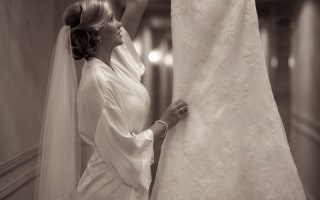 Bride and wedding dress at the Fairmont Southampton