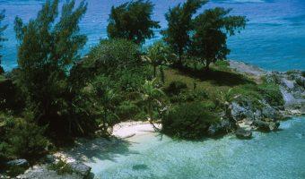 Arial photograph of a beach in Bermuda in April