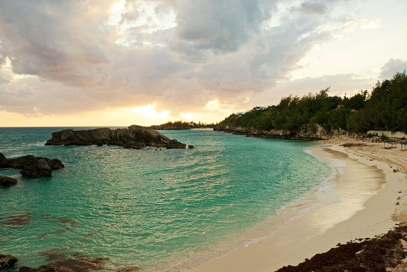 Panoramic view of the beach at the Fairmont Southampton hotel in Bermuda