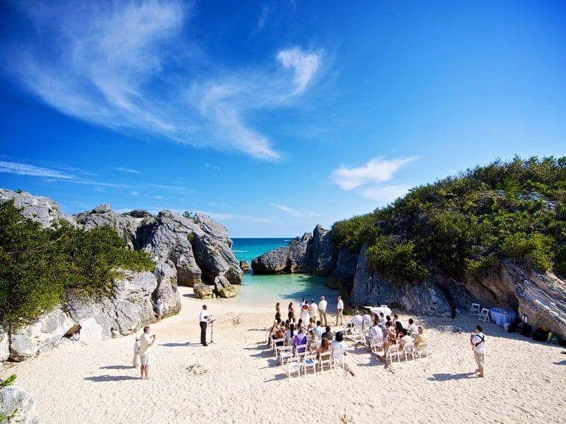 Wedding ceremony at Jobson's Cove in Bermuda