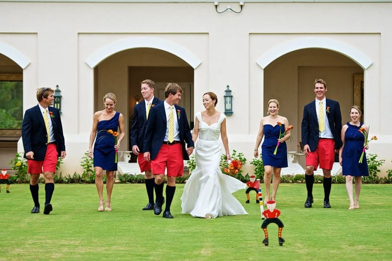 Wedding party on the croquet lawn at Rosewood Bermuda