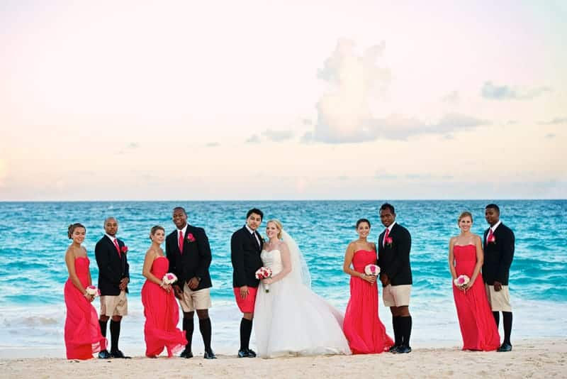 Wedding party on the beach at Rosewood Bermuda