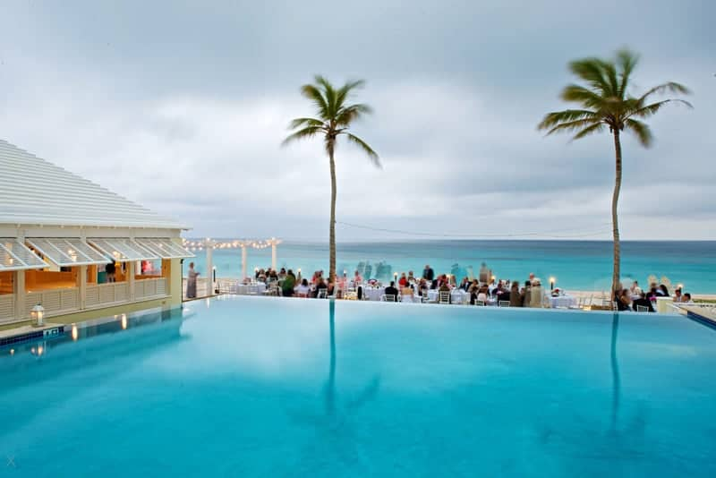 Infinity pool and a wedding reception at Rosewood Bermuda