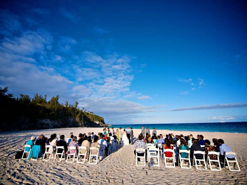 Wedding ceremony on the beach at Rosewood Bermuda