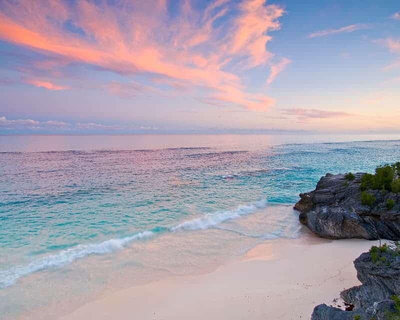 Astwood Cove beach in Bermuda at sunset