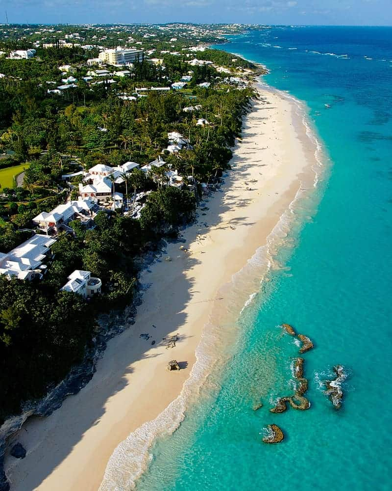 Aerial photograph of Elbow Beach in Bermuda