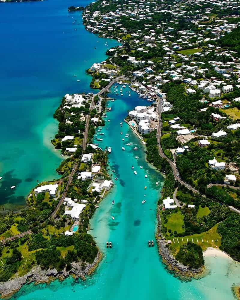 Aerial photograph of Flatts Village and Flatts Inlet in Bermuda