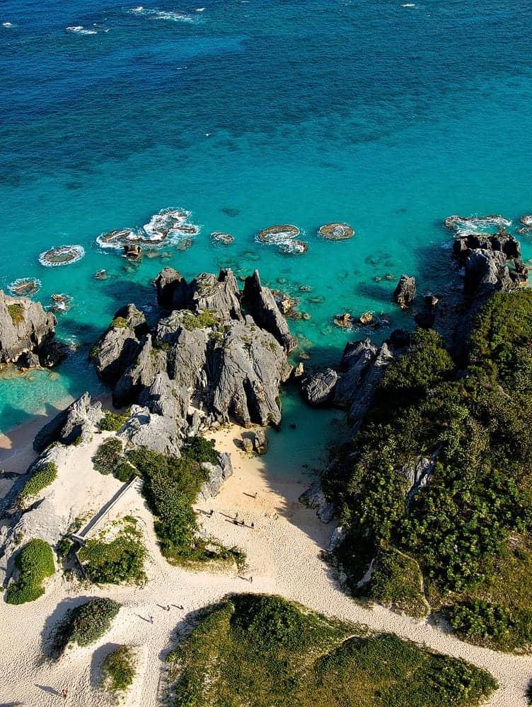 Aerial photograph of Jobson's Cove beach in Bermuda