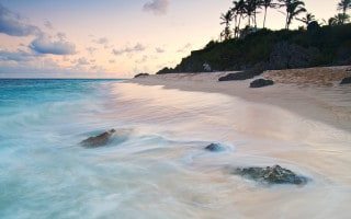 Warwick Long Bay beach in Bermuda at sunset