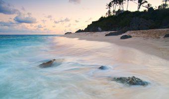 Warwick Long Bay beach in Bermuda at sunset