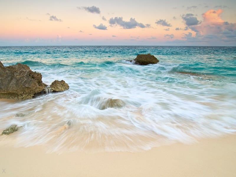 Warwick Long Bay at sunset in Bermuda