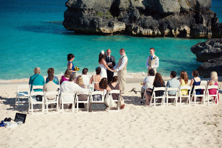 Wedding ceremony on Warwick Long Bay beach in Bermuda