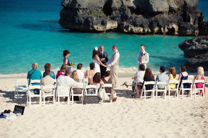 Wedding Ceremony On Warwick Long Bay Beach In Bermuda