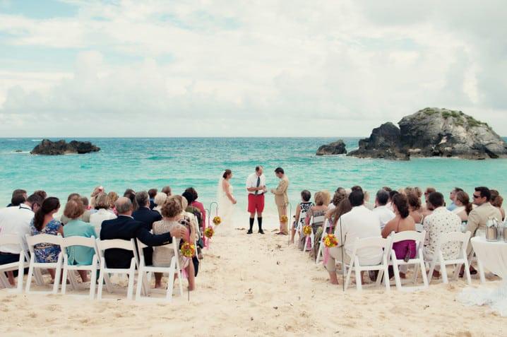 Beach wedding at the Fairmont Southampton hotel in Bermuda