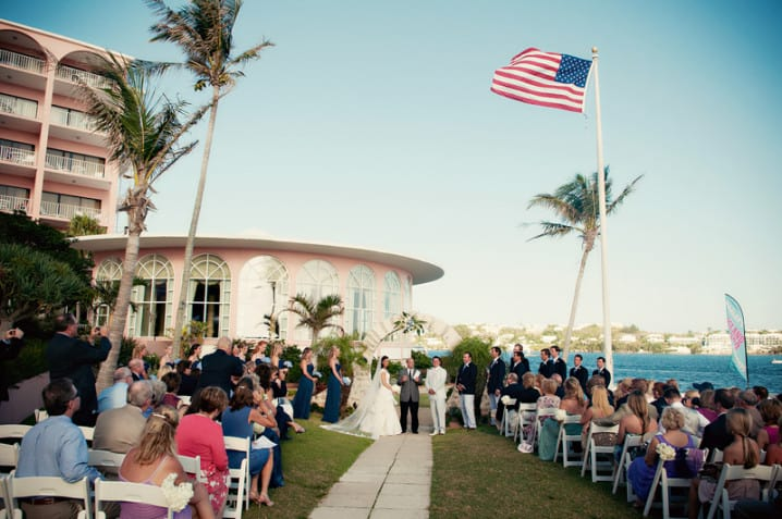 Wedding ceremony at the Flagpole Terrace at the Fairmont Hamilton Princess hotel in Bermuda