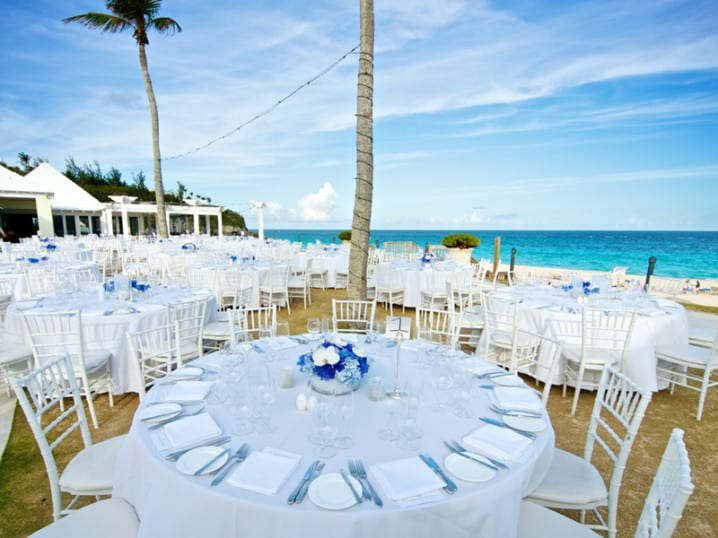 Tables set for a wedding at Rosewood Tucker's Point in Bermuda. Wedding planned by Bermuda Event Solutions.