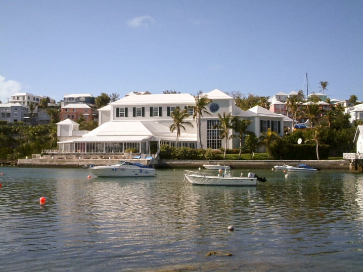 View of Bermuda Underwater Exploration Institute, the BUEI, from Hamilton Harbour