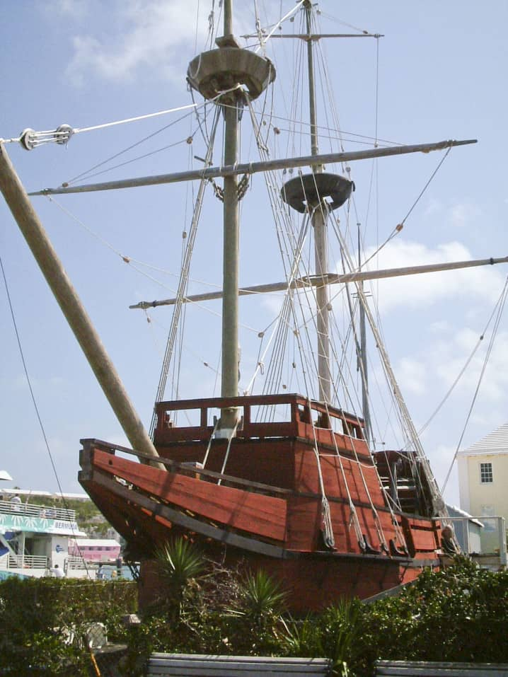Replica of the Deliverance ship on Ordnance Island in St George, Bermuda