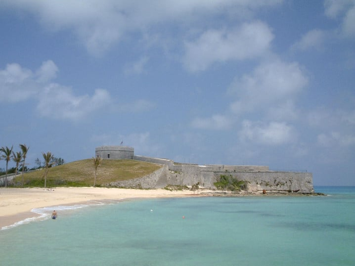 View of St Catherine's Beach in Bermuda with Fort St Catherine in the background
