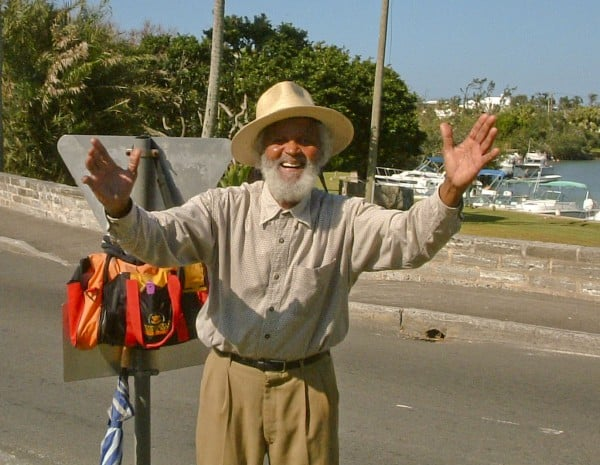 Johnny Barnes at Crow Land roundabout in Bermuda