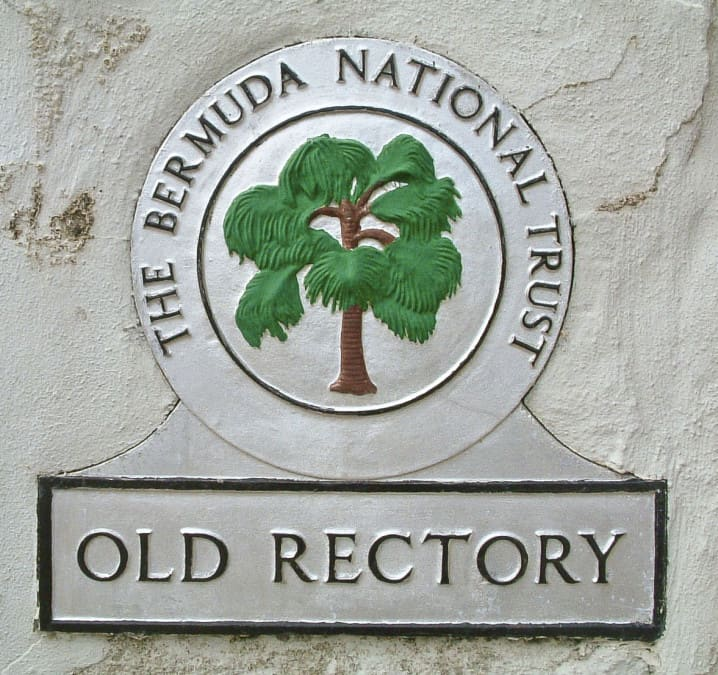 Bermuda National Trust plaque at the Old Rectory in St George