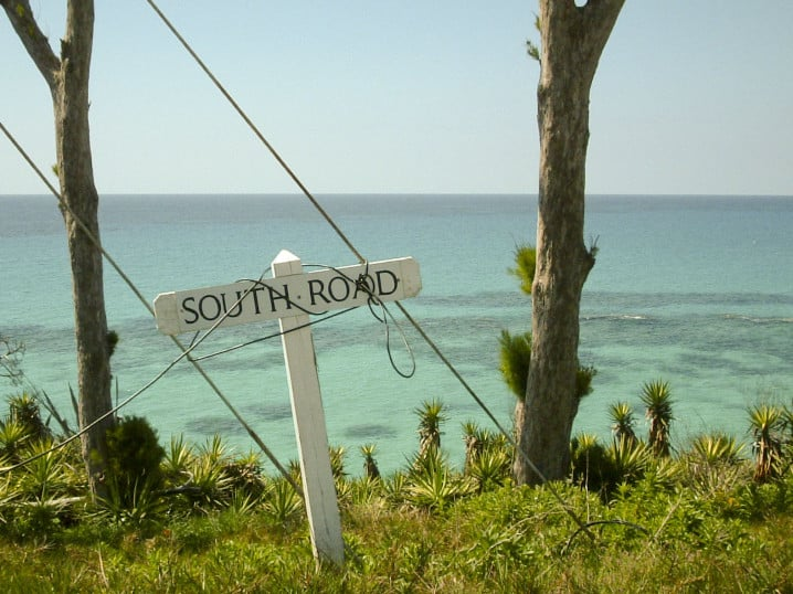 Sign marking South Road, one of the major roads in Bermuda