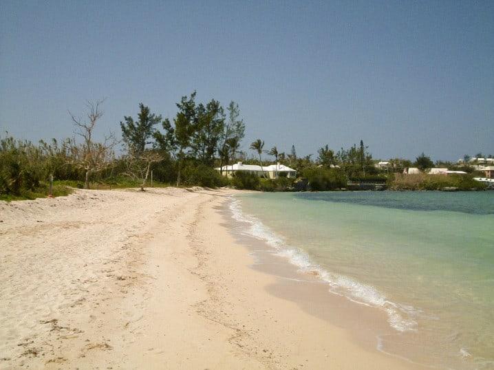 View of the beach at Somerset Long Bay in Sandys Parish, Bermuda