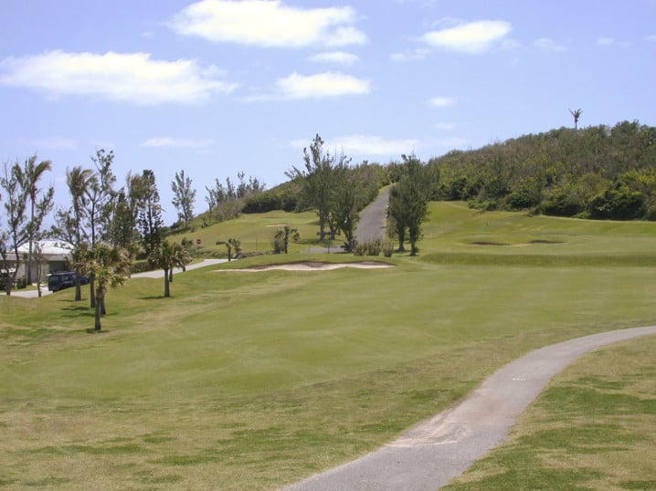 View of one of the fairways at St George's Golf Course in Bermuda
