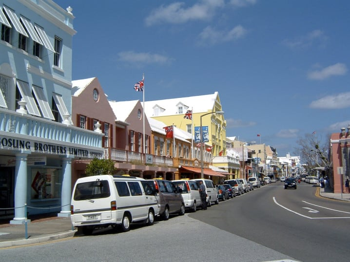 Bermuda taxis parked in the taxi rank on Front Street in Hamilton