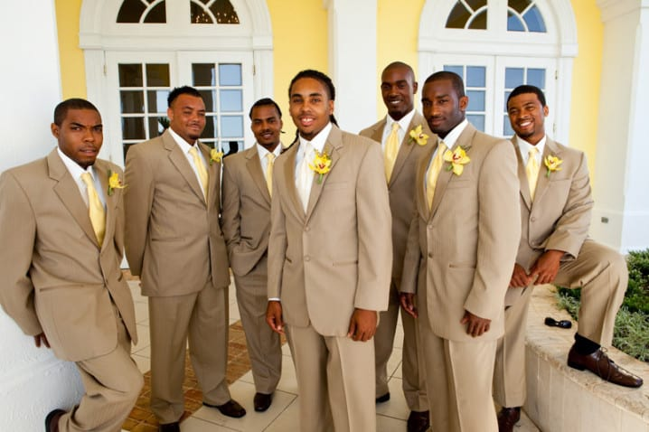 Groom and groomsmen at the Elbow Beach Hotel - Photo by Becky Spencer Photography